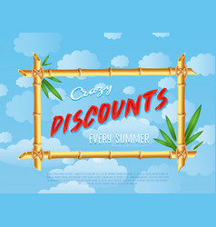 Crazy discounts sale poster in cartoon style vector
