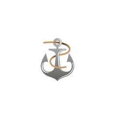 Creative anchor rope logo vector