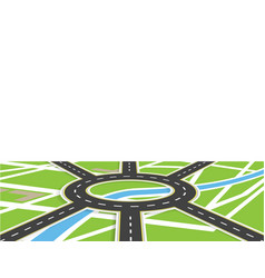 Crossroads of roads with markings roundabout vector
