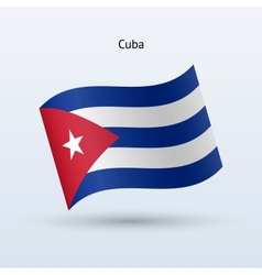 Cuba flag waving form vector