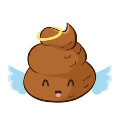 Cute happy angel poop emoji vector