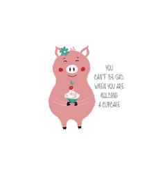 Cute piggy holding cupcake vector