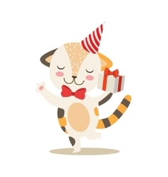 Dancing little girly cute kitten with birthday vector