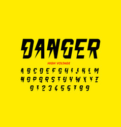 danger hight voltage style font design alphabet vector image