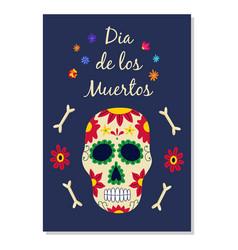 day the dead dia de los muertos banner flat vector image