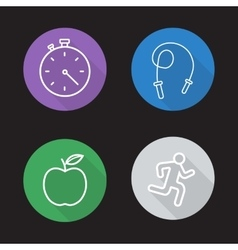 Diet and exercise flat linear icons set vector