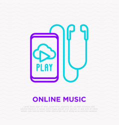Earphones smartphone with online music line icon vector
