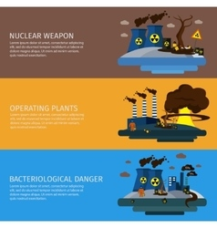 Environmental Pollution Colored Banner Set vector