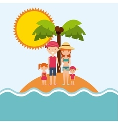 Family cartoon island palm tree icon Swimming and vector