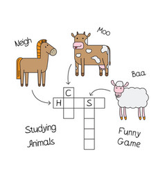Farm animals crossword for children vector