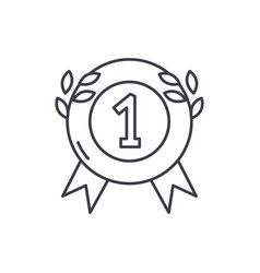 first place medal line icon concept first place vector image
