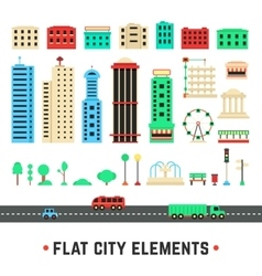 Flat city elements on white background vector