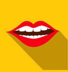 Flat design red mouth with white teeth on yellow vector