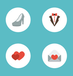 flat icons love bridegroom dress card and other vector image
