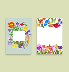 floral banner set with flowers frame roses vector image