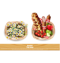 food products full basket and chamomile vector image