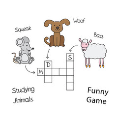 funny animals crossword for children vector image