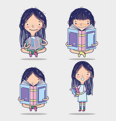 Girl and books vector