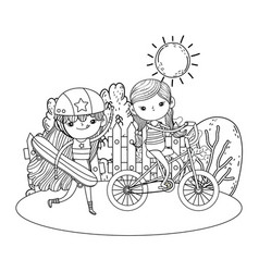 Girls mounted in skateboard and bicycle vector