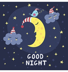 Good night card with the cute sleeping moon vector
