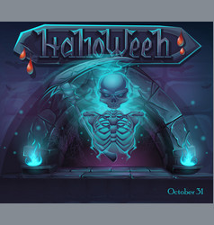 halloween window with magic portal and skeleton vector image
