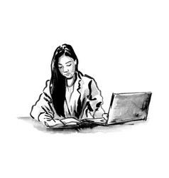 hand drawing ink working woman vector image