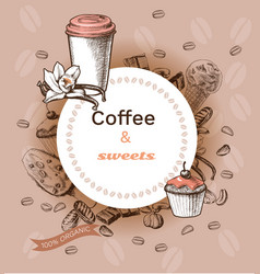 Hand drawn hot coffee template vector