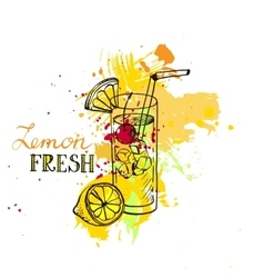 hand drawn lemonade in glass vector image