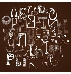 Handdrawn russian doodle alphabet Random letters vector image
