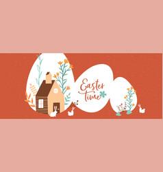 happy easter cute rabbit farm house banner vector image