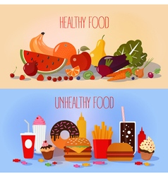 Healthy Food and Unhealthy Fast Food vector