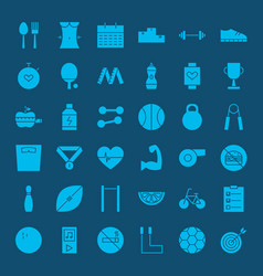 Healthy lifestyle solid web icons vector