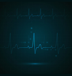 heart rate on blue display heartbeat monitoring vector image