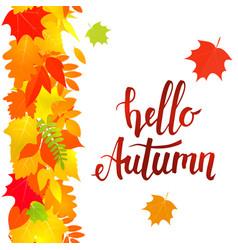 Hello autumn vertical seamless border vector