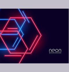 hexagon shape neon lights in blue and red colors vector image