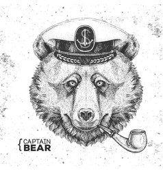 Hipster animal bear captains cap and smoking pipe vector