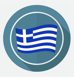 Icon greece flag on white circle with a long vector