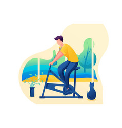 Isometric 3d man is engaged in sports at home vector