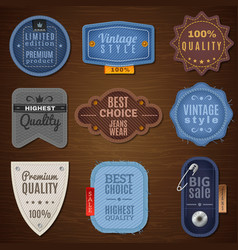 Jeans Label Icons vector