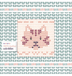 Knitted cat vector