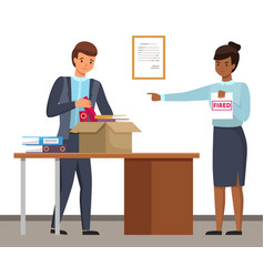 Layoff concept woman boss dismissed employee sad vector