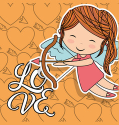 love cupid girl with bow wings and heart arrow vector image