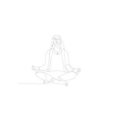 meditating man one line art human character vector image