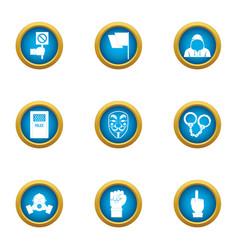 Menace icons set flat style vector