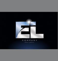 Metal blue alphabet letter el e l logo company vector