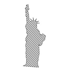 monochrome silhouette of statue of liberty to vector image