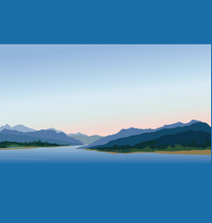 mountain and hills landscape rural skyline lake vector image