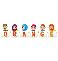 Muslim family holding sign for word orange vector