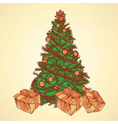 New Year tree with presents vector image