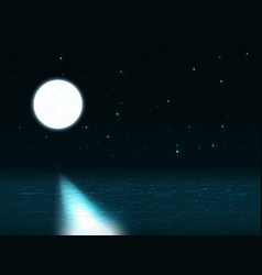 night landscape with moon over the sea and vector image